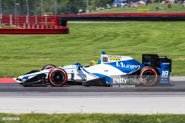 Esteban Gutierrez of Mexico drives the Honda IndyCar for Dale Coyne Racing during qualifying for the Verizon IndyCar Series Honda Indy 200 at MidOhio...