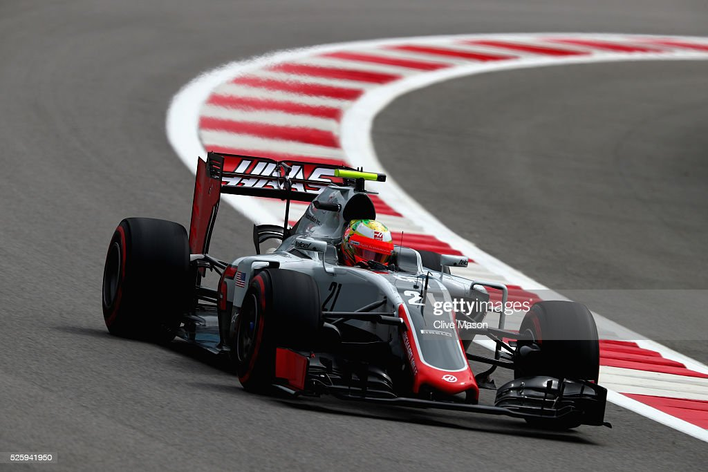 Esteban Gutierrez of Mexico driving the (21) Haas F1 Team Haas-Ferrari VF-16 Ferrari 059/5 turbo on track during practice for the Formula One Grand Prix of Russia at Sochi Autodrom on April 29, 2016 in Sochi, Russia.