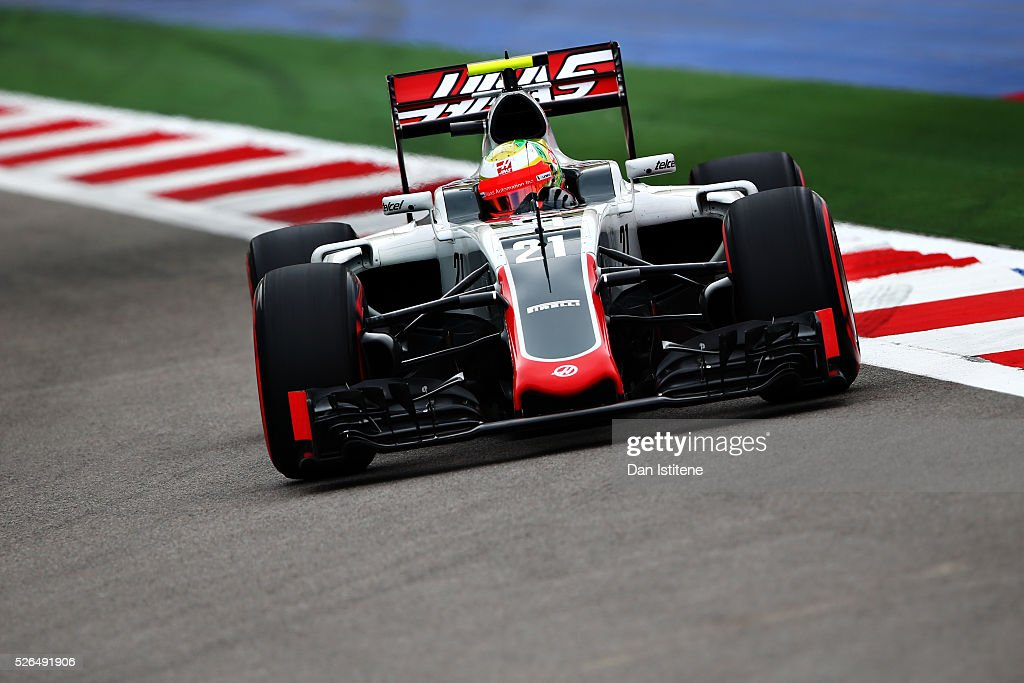 Esteban Gutierrez of Mexico driving the (21) Haas F1 Team Haas-Ferrari VF-16 Ferrari 059/5 turbo on track during qualifying for the Formula One Grand Prix of Russia at Sochi Autodrom on April 30, 2016 in Sochi, Russia.