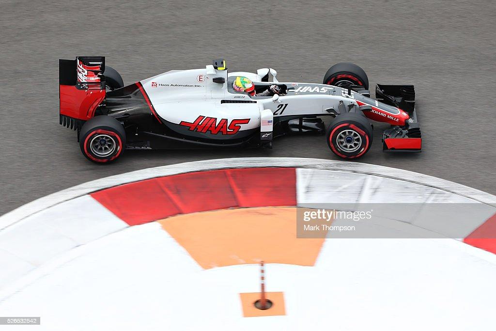 Esteban Gutierrez of Mexico driving the (21) Haas F1 Team Haas-Ferrari VF-16 Ferrari 059/5 turbo on track during final practice ahead of the Formula One Grand Prix of Russia at Sochi Autodrom on April 30, 2016 in Sochi, Russia.