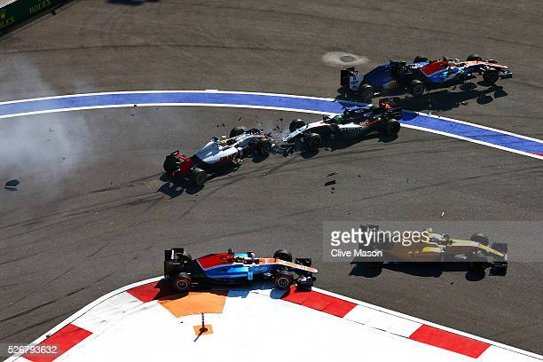 Esteban Gutierrez of Mexico driving the Haas F1 Team HaasFerrari VF16 Ferrari 059/5 turbo and Nico Hulkenberg of Germany driving the Sahara Force...