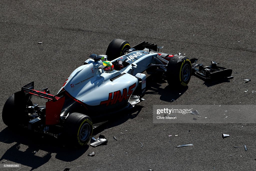 Esteban Gutierrez of Mexico driving the (21) Haas F1 Team Haas-Ferrari VF-16 Ferrari 059/5 turbo after colliding with Nico Hulkenberg of Germany and Force India at the start during the Formula One Grand Prix of Russia at Sochi Autodrom on May 1, 2016 in Sochi, Russia.