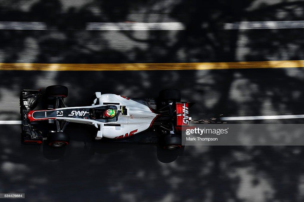 Esteban Gutierrez of Mexico driving the (21) Haas F1 Team Haas-Ferrari VF-16 Ferrari 059/5 turbo on track during practice for the Monaco Formula One Grand Prix at Circuit de Monaco on May 26, 2016 in Monte-Carlo, Monaco.