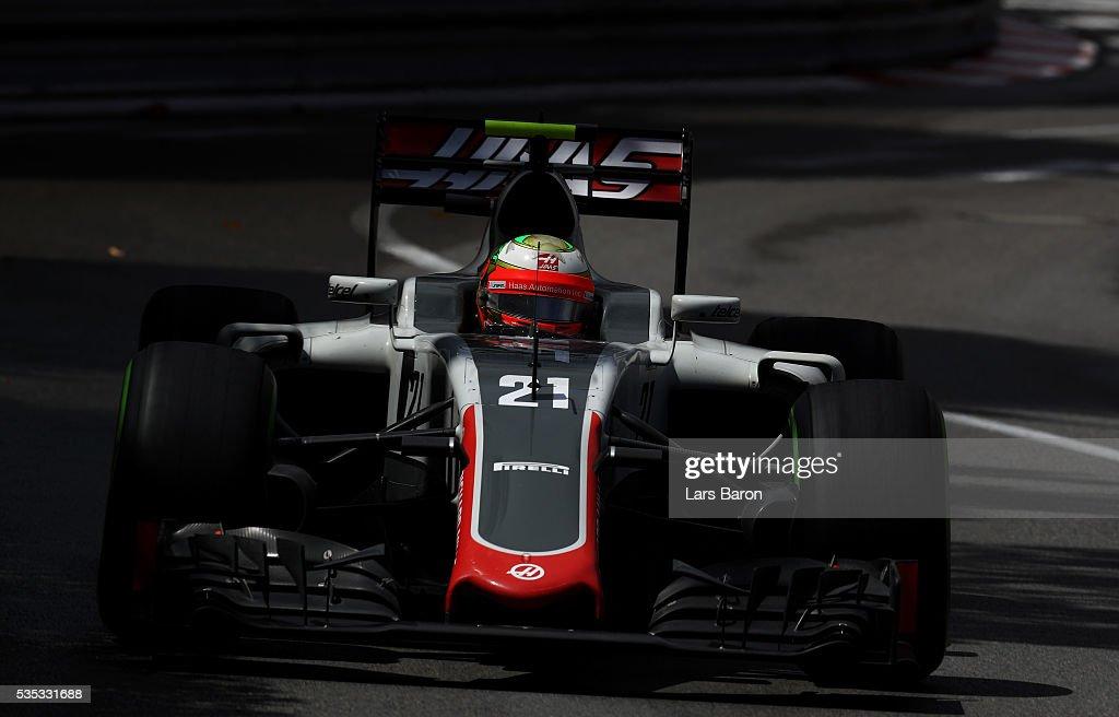 Esteban Gutierrez of Mexico driving the (21) Haas F1 Team Haas-Ferrari VF-16 Ferrari 059/5 turbo on track during the Monaco Formula One Grand Prix at Circuit de Monaco on May 29, 2016 in Monte-Carlo, Monaco.