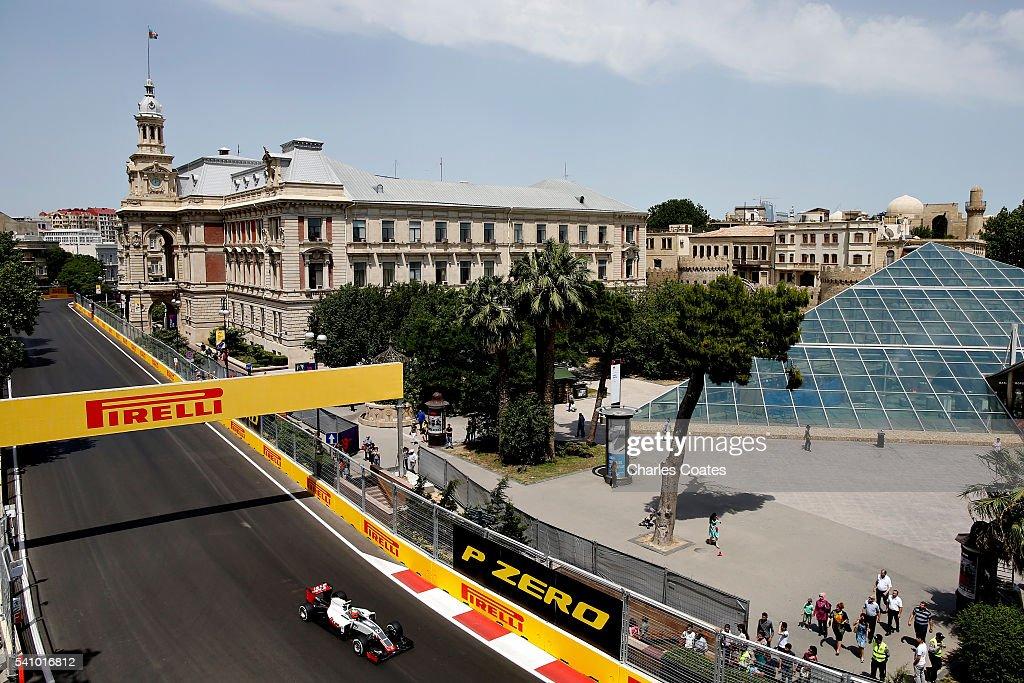 Esteban Gutierrez of Mexico driving the (21) Haas F1 Team Haas-Ferrari VF-16 Ferrari 059/5 turbo on track during final practice before the European Formula One Grand Prix at Baku City Circuit on June 18, 2016 in Baku, Azerbaijan.