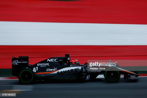 Esteban Ocon of France and Force India drives during Formula One testing at the Red Bull Ring on June 23 2015 in Spielberg Austria