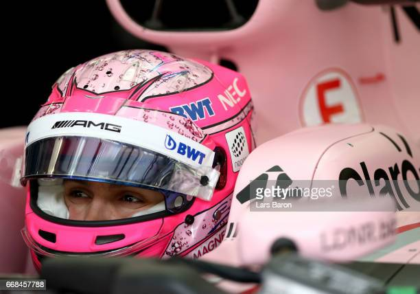 Esteban Ocon of France and Force India prepares to drive in the garage during practice for the Bahrain Formula One Grand Prix at Bahrain...
