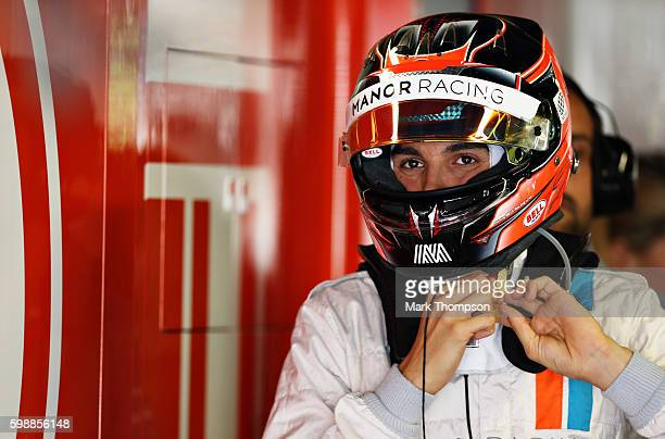 Esteban Ocon of France and Manor Racing gets ready in the garage during final practice for the Formula One Grand Prix of Italy at Autodromo di Monza...