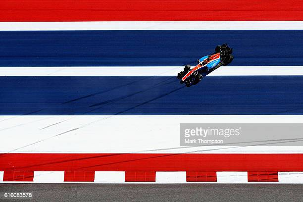 Esteban Ocon of France driving the Manor Racing MRTMercedes MRT05 Mercedes PU106C Hybrid turbo goes off the circuit during practice for the United...