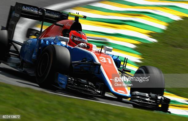 Esteban Ocon of France driving the Manor Racing MRTMercedes MRT05 Mercedes PU106C Hybrid turbo on track during practice for the Formula One Grand...