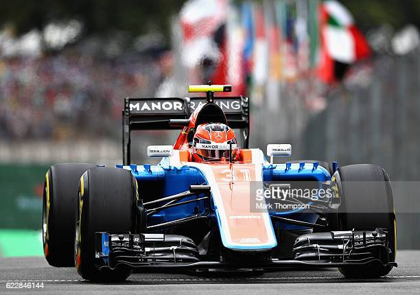 Esteban Ocon of France driving the Manor Racing MRTMercedes MRT05 Mercedes PU106C Hybrid turbo in the Pitlane during qualifying for the Formula One...