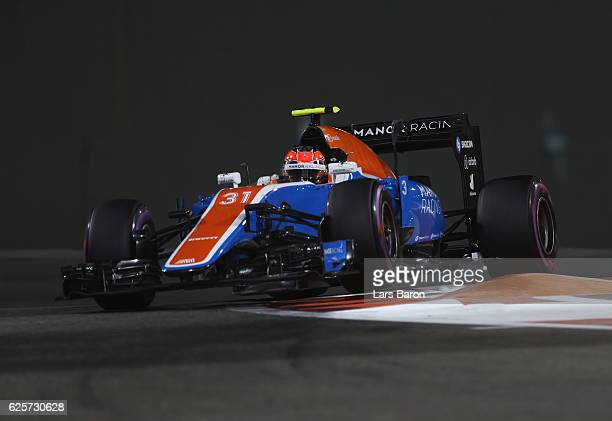 Esteban Ocon of France driving the Manor Racing MRTMercedes MRT05 Mercedes PU106C Hybrid turbo on track during practice for the Abu Dhabi Formula One...