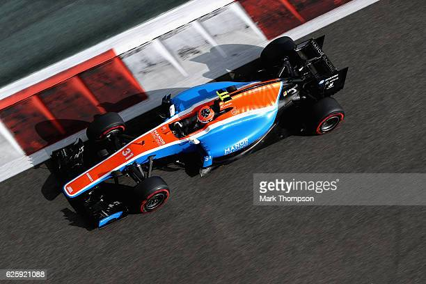 Esteban Ocon of France driving the Manor Racing MRTMercedes MRT05 Mercedes PU106C Hybrid turbo on track during final practice for the Abu Dhabi...