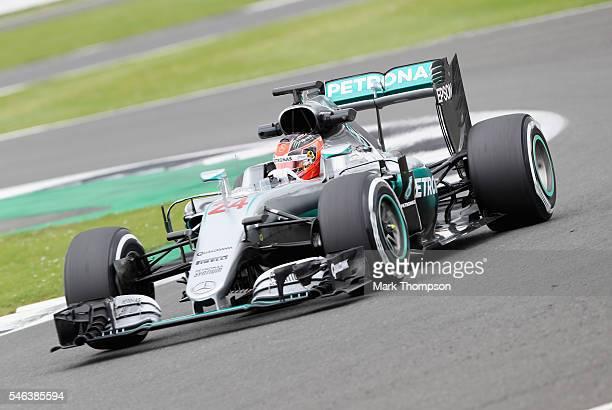 Esteban Ocon of France driving the Mercedes AMG Petronas F1 Team Mercedes F1 WO7 Mercedes PU106C Hybrid turbo on track during F1 testing at...