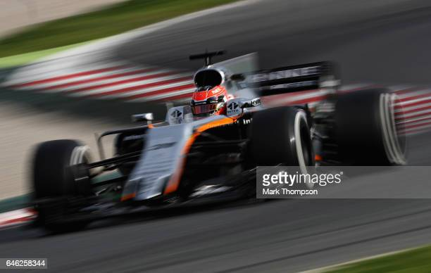 Esteban Ocon of France driving the Sahara Force India F1 Team VJM10 on track during day two of Formula One winter testing at Circuit de Catalunya on...