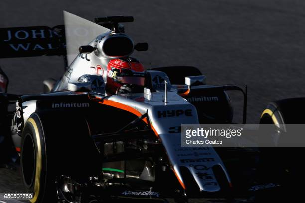 Esteban Ocon of France driving the Sahara Force India F1 Team VJM10 on track during day three of Formula One winter testing at Circuit de Catalunya...
