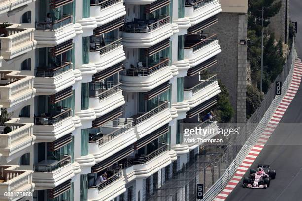 Esteban Ocon of France driving the Sahara Force India F1 Team VJM10 on track during practice for the Monaco Formula One Grand Prix at Circuit de...
