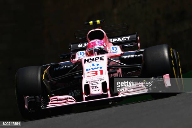 Esteban Ocon of France driving the Sahara Force India F1 Team VJM10 on track during practice for the Azerbaijan Formula One Grand Prix at Baku City...