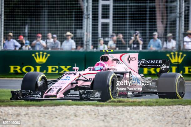 Esteban Ocon of Sahara Force India F1 Team competes in the 2nd F1 practice session at the 2017 Australian Formula 1 Grand Prix on March 24 2017 in...