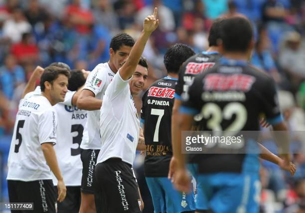 Esteban Paredes of Atlante celebrate a goal during a match between Queretaro and Atlante as part of the Torneo Apertura 2012 at La Corregidora...