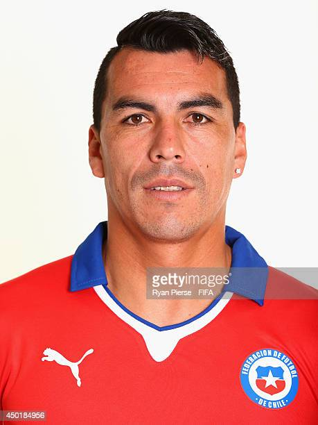Esteban Paredes of Chile poses during the official FIFA World Cup 2014 portrait session on June 6 2014 in Belo Horizonte Brazil