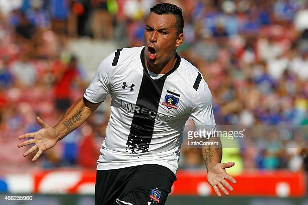 Esteban Paredes of Colo Col celebrates after scoring the first goal of his team during a match between U de Chile and Colo Colo as part of round 11...