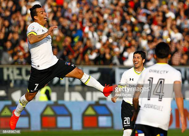 Esteban Paredes of Colo Colo celebrates after scoring the first goal his team during a match between Colo Colo and Union Espanola as part of...