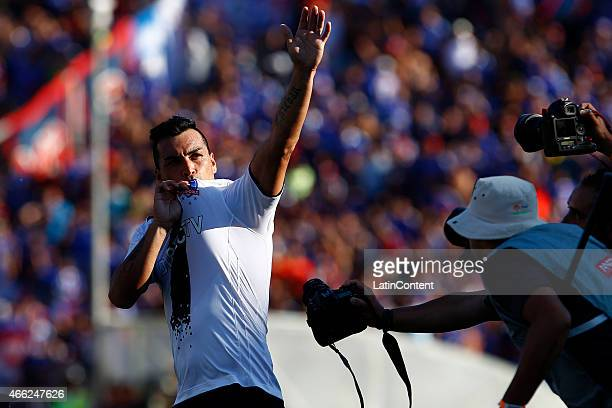 Esteban Paredes of Colo Colo celebrates after scoring the second goal of his team during a match between U de Chile and Colo Colo as part of round 11...