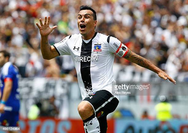 Esteban Paredes of Colo Colo celebrates after scoring the second goal of his team during a match between Colo Colo and U de Chile as part of...