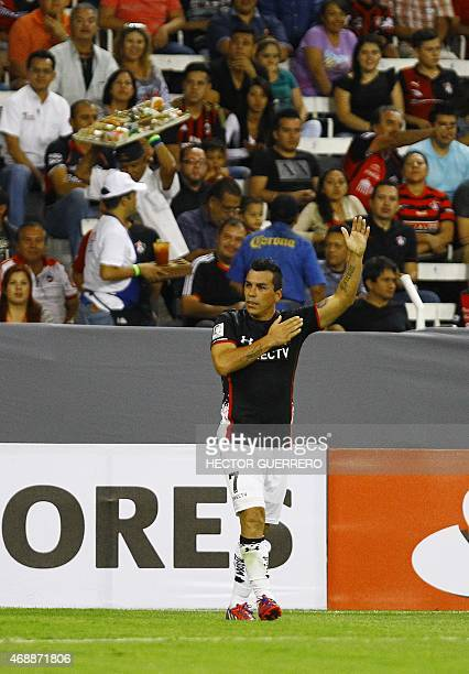 Esteban Paredes of Colo Colo of Chile celebrates scoring during their Libertadores Cup football match against Atlas of Mexico at Jalisco stadium in...