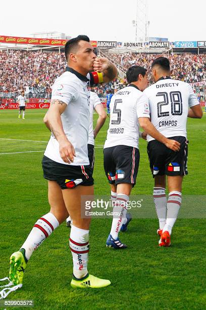 Esteban Paredes of ColoColo celebrates after scoring the first goal of his team during a match between ColoColo and U de Chile as part of Torneo...