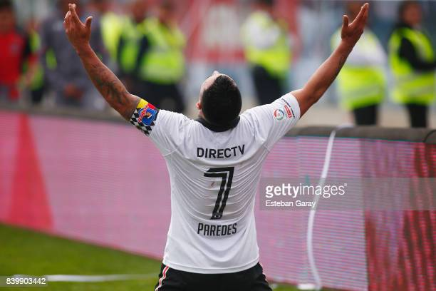 Esteban Paredes of ColoColo celebrates after scoring the fourth goal of his team during a match between ColoColo and U de Chile as part of Torneo...