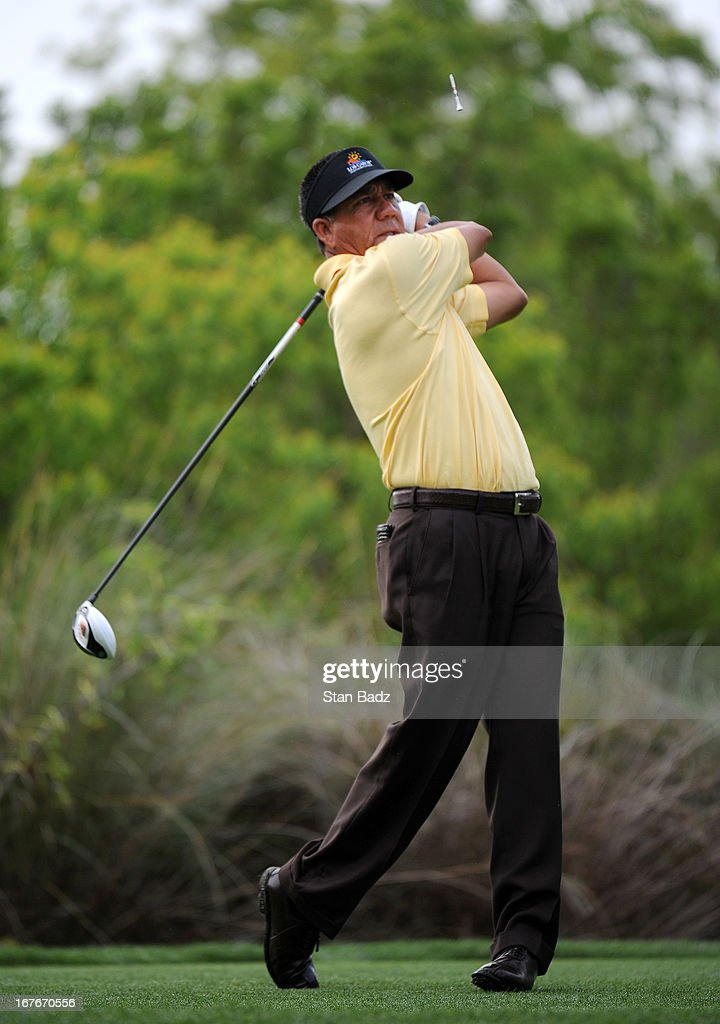 <a gi-track='captionPersonalityLinkClicked' href=/galleries/search?phrase=Esteban+Toledo&family=editorial&specificpeople=2823169 ng-click='$event.stopPropagation()'>Esteban Toledo</a> hits a drive on the the fourth hole during the second round of the Legends Division at the Liberty Mutual Insurance Legends of Golf at The Westin Savannah Harbor Golf Resort & Spa on April 27, 2013 in Savannah, Georgia.