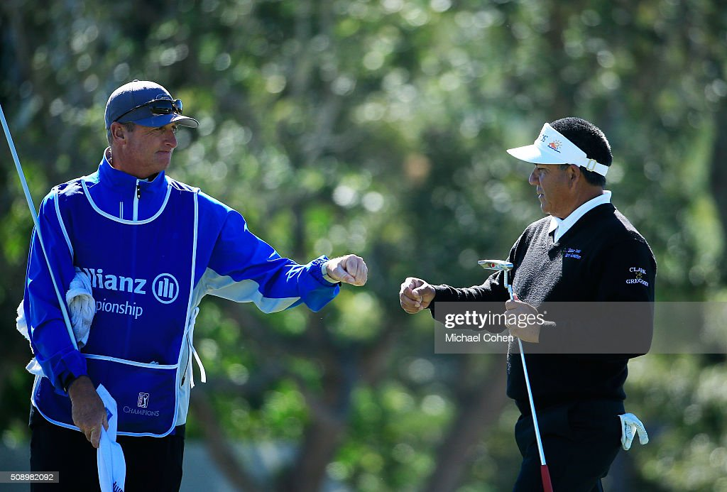 <a gi-track='captionPersonalityLinkClicked' href=/galleries/search?phrase=Esteban+Toledo&family=editorial&specificpeople=2823169 ng-click='$event.stopPropagation()'>Esteban Toledo</a> of Mexico (R) celebrates his birdie on the 11th green during the final round of the Allianz Championship held at The Old Course at Broken Sound on February 7, 2016 in Boca Raton, Florida.