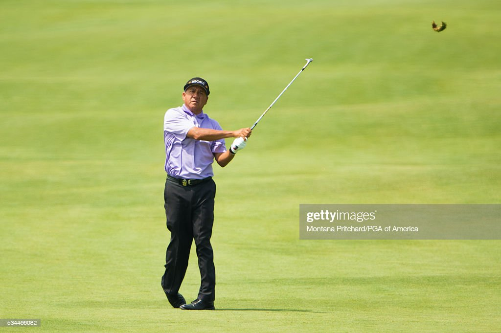 <a gi-track='captionPersonalityLinkClicked' href=/galleries/search?phrase=Esteban+Toledo&family=editorial&specificpeople=2823169 ng-click='$event.stopPropagation()'>Esteban Toledo</a> of Mexico hits his shot on the ninth hole during the first round for the 77th Senior PGA Championship presented by KitchenAid held at Harbor Shores Golf Club on May 26, 2016 in Benton Harbor, Michigan.