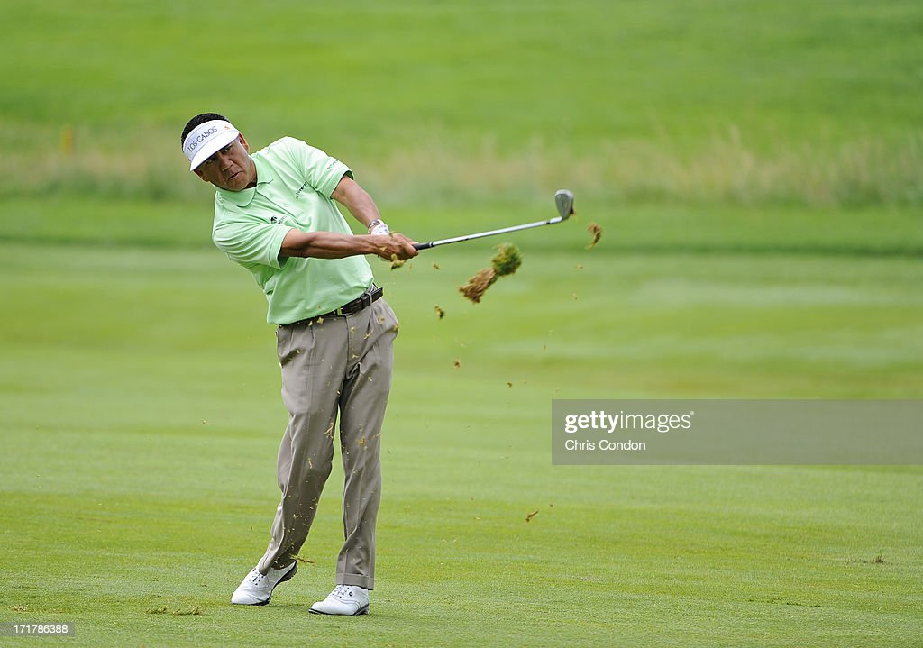 <a gi-track='captionPersonalityLinkClicked' href=/galleries/search?phrase=Esteban+Toledo&family=editorial&specificpeople=2823169 ng-click='$event.stopPropagation()'>Esteban Toledo</a> of Mexico plays from the 5th fairway during the second round of the Constellation SENIOR PLAYERS Championship at Fox Chapel Golf Club on June 28, 2013 in Pittsburgh, Pennsylvania.