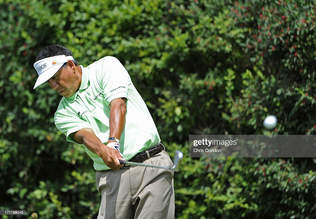 <a gi-track='captionPersonalityLinkClicked' href=/galleries/search?phrase=Esteban+Toledo&family=editorial&specificpeople=2823169 ng-click='$event.stopPropagation()'>Esteban Toledo</a> of Mexico plays from the 6th tee during the second round of the Constellation SENIOR PLAYERS Championship at Fox Chapel Golf Club on June 28, 2013 in Pittsburgh, Pennsylvania.
