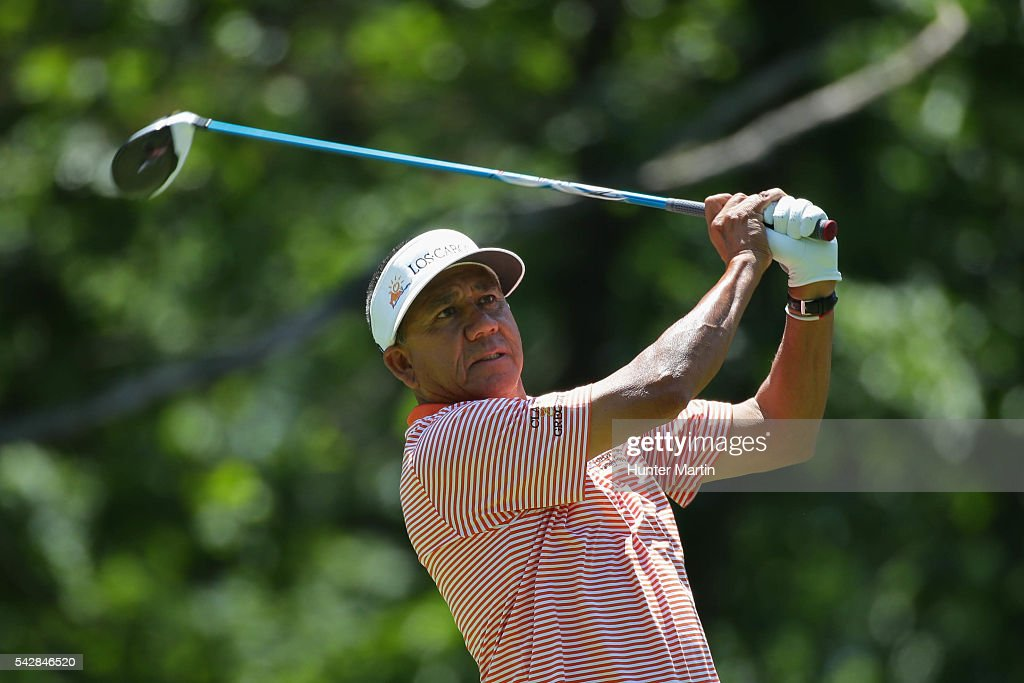 <a gi-track='captionPersonalityLinkClicked' href=/galleries/search?phrase=Esteban+Toledo&family=editorial&specificpeople=2823169 ng-click='$event.stopPropagation()'>Esteban Toledo</a> of Mexico watches his tee shot on the 15th hole during the first round of the Champions Tour American Family Insurance Championship at University Ridge Golf Course on June 24, 2016 in Madison, Wisconsin.