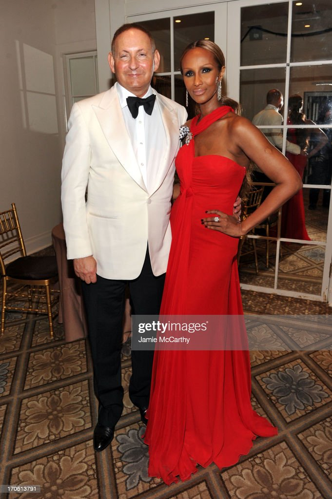 Estee Lauder group President John Dempsey and <a gi-track='captionPersonalityLinkClicked' href=/galleries/search?phrase=Iman+-+Fashion+Model&family=editorial&specificpeople=132463 ng-click='$event.stopPropagation()'>Iman</a> pose during the 4th Annual amfAR Inspiration Gala New York at The Plaza Hotel on June 13, 2013 in New York City.