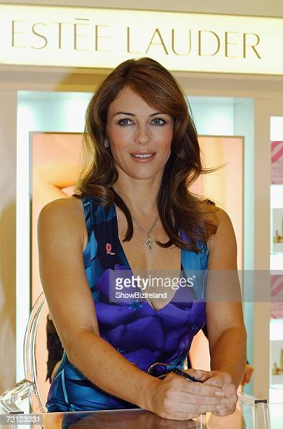Estee Lauder spokesmodel Elizabeth Hurley attends the launch of Breast Cancer Awareness Month at Brown Thomas on October 9 2006 in Dublin Ireland