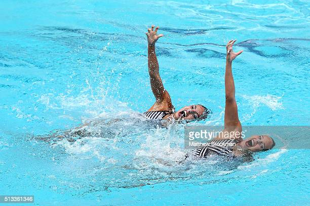 Estefania Alvarez Piedrahita and Monica Sarai Arango Estrada of Colombia compete in the Duets Technical Routine First Round during the FINA Olympic...