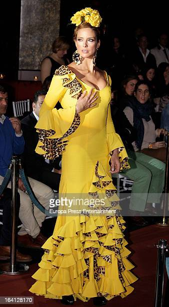 Estefania Luyk poses wearing flamenco dress during Flamenco Fashion Show on March 19 2013 in Madrid Spain