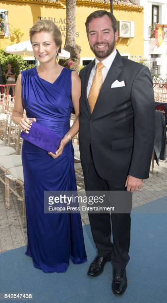 Estefania of Lannoy and Guillermo of Luxemburgo are seen attending the wedding of MarieGabrielle of Nassau and Antonius Willms on September 2 2017 in...