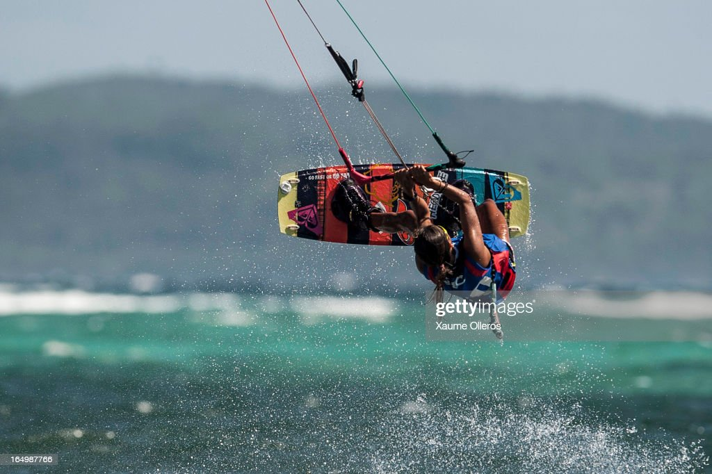 Estefania Rosa of Brazil competes on freestyle during day five of the KTA at Boracay Island on March 30, 2013 in Makati, Philippines.