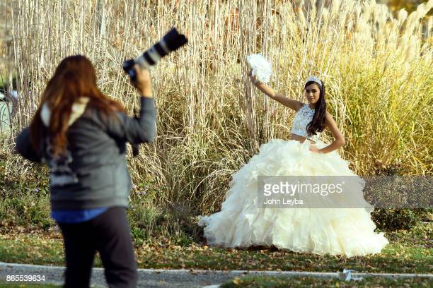 Estefany Miranda 15years old poses for photographer Reny Rios at Washington Park on October 23 2017 Estefany will be celebrating her Quinceañera a...