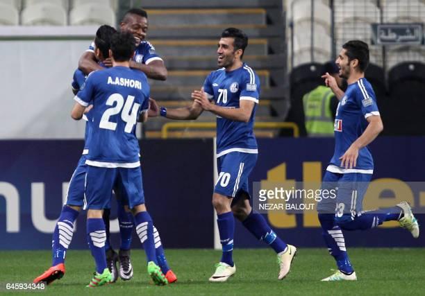 Esteghlal Khuzestan's Aloys Nong celebrates his goal against UAE's alJazira during an Asian Champions League Group B football match at Mohammed Bin...