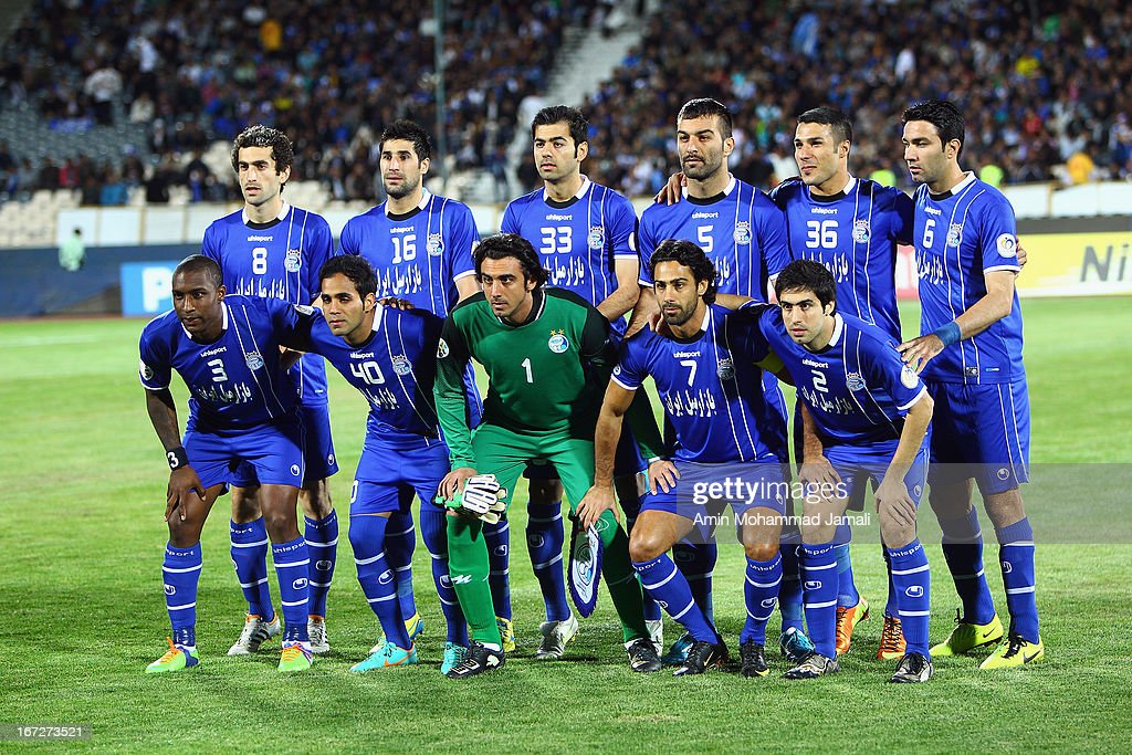 Esteghlal players pose for a team photo during the AFC Champions League Group D match between Esteghlal and Al Rayyan at Azadi Stadium on April 23, 2013 in Tehran, Iran.