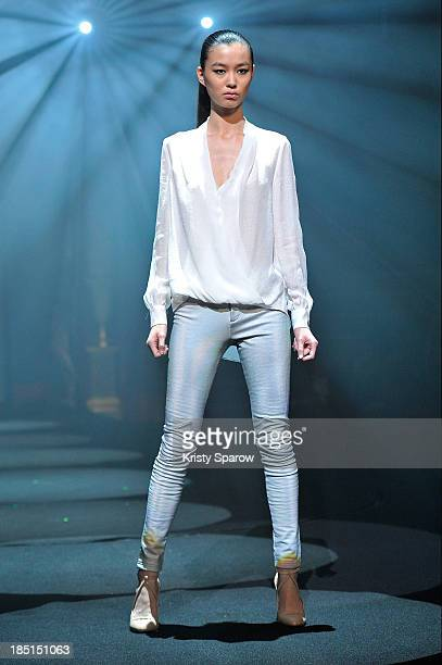 Estell of Lille France poses on the runway before winning the 'Elite Model Look 2013' contest final at Le Cirque d'Hiver on October 17 2013 in Paris...