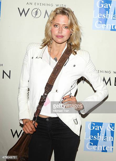 Estella Warren arrives at the LA Gay Lesbian Center presents An Evening with Women kickoff concert held at The Roxy Theatre on March 15 2014 in West...