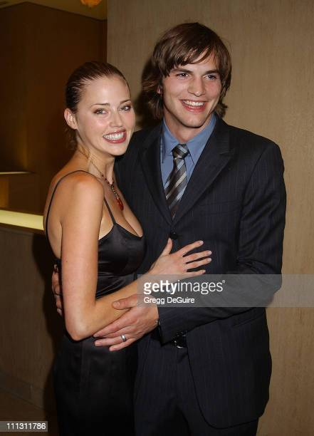 Estella Warren Ashton Kutcher during Hollywood Film Festival's Hollywood Movie Awards Arrivals Backstage at Beverly Hilton Hotel in Beverly Hills...